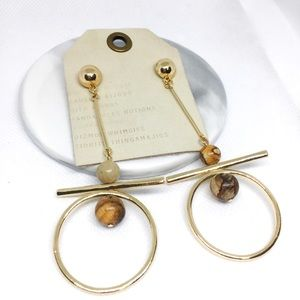 NWT Anthropologie Brown Circle Earrings
